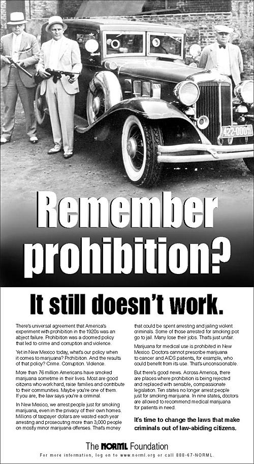 NORML probhibition ad NORML Prohibition Poster Politics