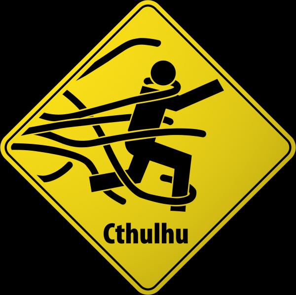 cthulhuwarn.thumbnail Cthulhu Road Hazard Sign Humor Cthulhu