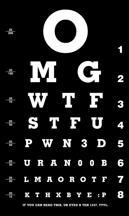 eyechart 1337 Eye Chart wtf Humor Forum Fodder