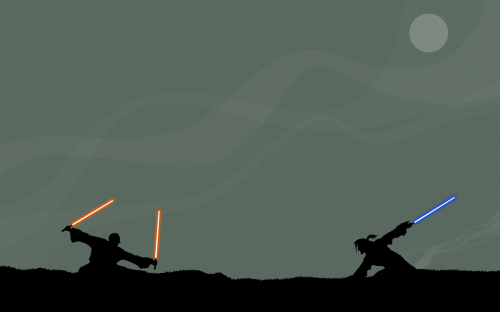 star wars duel dual monitor wallpaper.thumbnail Star Wars Jedi Duel   Dual Monitor Wallpaper Movies