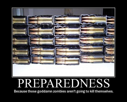 1188268062173 Preparedness   Because those goddamn zombies arent going to kill themselves Zombies wtf Motivational Posters Military Humor Fantasy   Science Fiction
