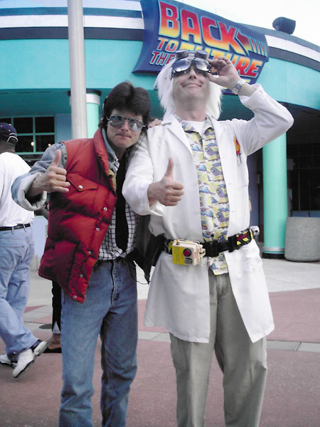 Marty Mcfly and Doc Brown cosplayers