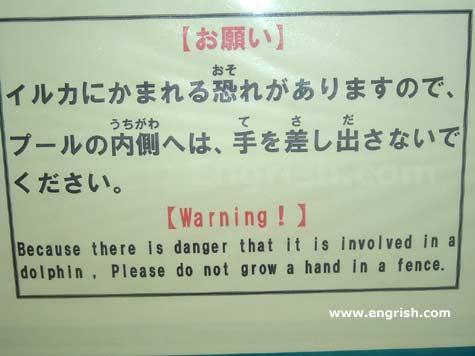 Engrish Dolphin Warning