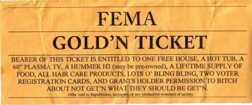 fematicket.thumbnail FEMA Goldn Ticket Politics Humor