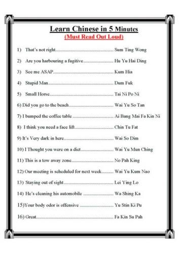 Chinese language is easy Racist Humor