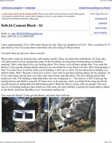 craigslist cinder blocks.thumbnail Cement Block $1 Humor