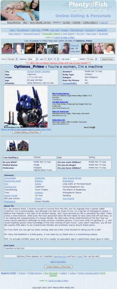Optimus prime uses plenty of fish myconfinedspace for Www plenty of fish com