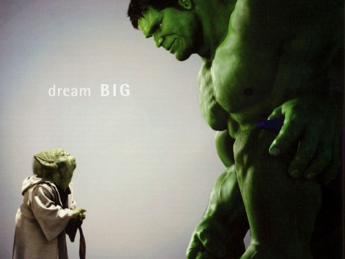 yoda vs hulk 500x375 ILM   Dream BIG Movies Advertisements