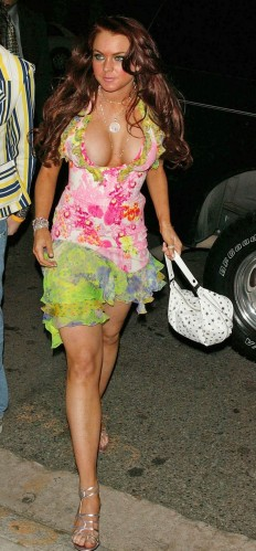 lindsay lohan - popping out in a flower dress
