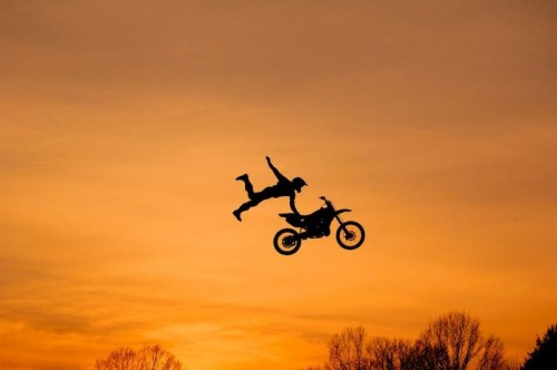 bike jump sunset