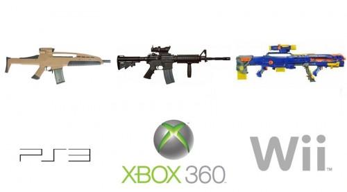 ps3 vs xbox 360 vs wii - guns