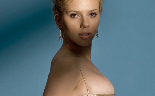 scarlett johansson - blue background
