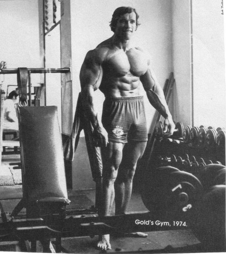 Arnold at Golds Gym 1974