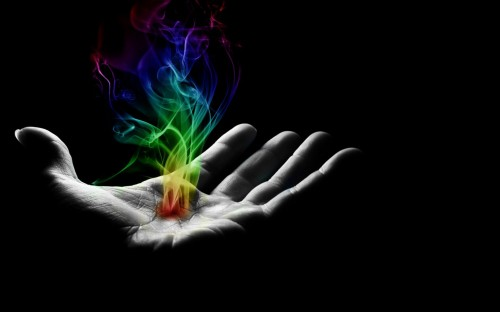 colorful hand burst