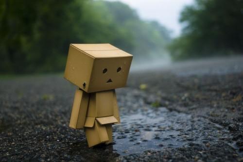 Sad Cardboard Robot