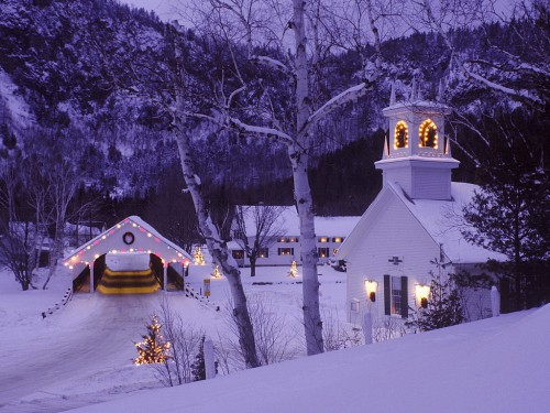 christmas bridge and village