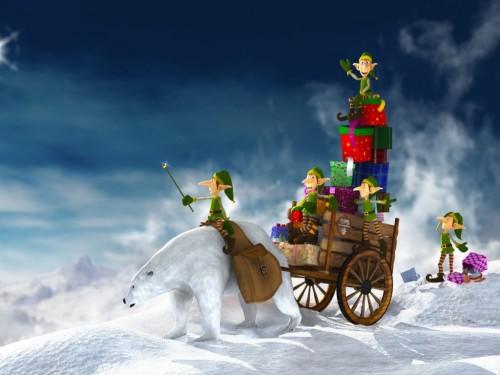 christmas elves enlave a polar bear