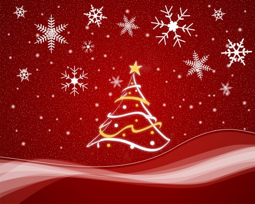 christmas tree and snow in red 500x400 christmas tree and snow   in red X Mas Wallpaper