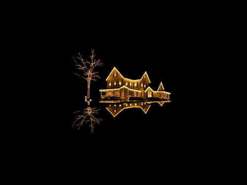 floating christmas house 500x375 Floating Christmas House X Mas Wallpaper