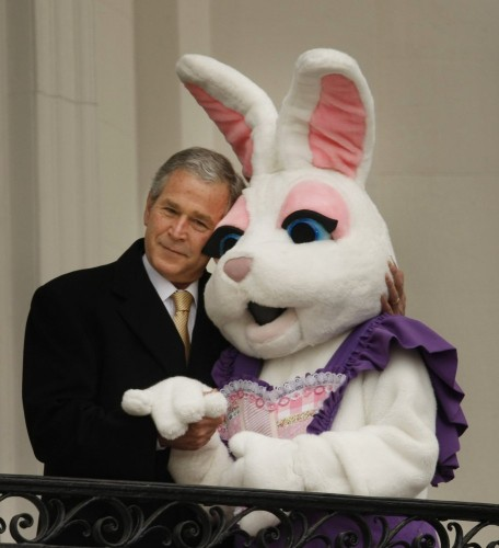 george bush vs easter bunny 456x500 George Bush Vs Easter Bunny wtf Politics Easter cosplay