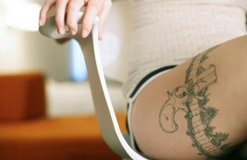 Leg Pistol Tattoo