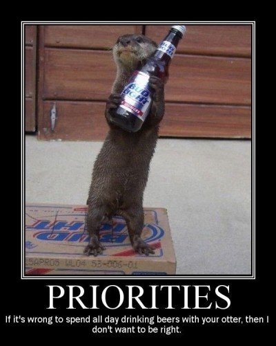 Priorities - If it's wrong to spend all day drinking beers with your otter, then I don't want to be right