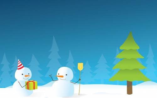 snowmen with christmas tree 500x312 snowmen with christmas tree xmas X Mas Wallpaper Humor
