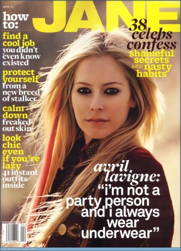 Avril Lavigne On Cover Of Jane 38 Celebs Confess