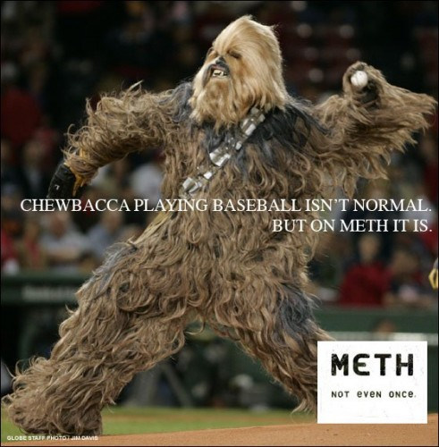 chewbacca playing baseball isn't normal - but on meth it is