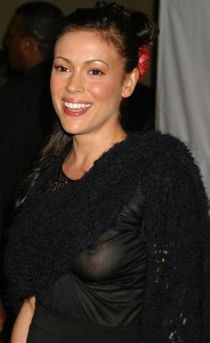 Alyssa Milano - black dress nip slip