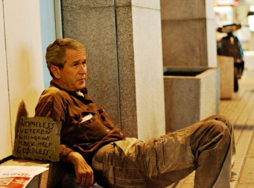 George W Bush - Homeless veteren looking for work