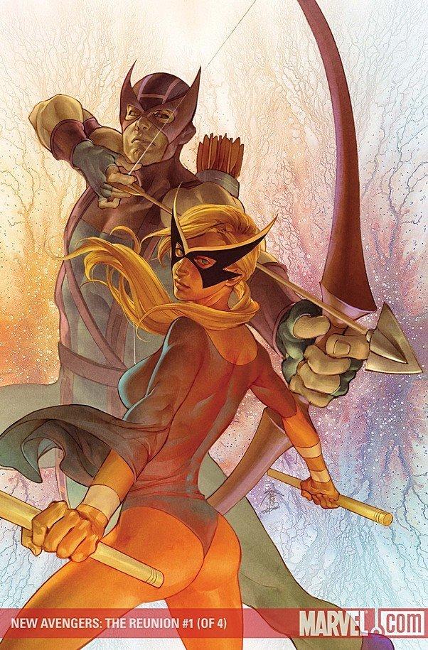 New Avengers- The Reunion 0001 Hawkeye and Mocking Bird