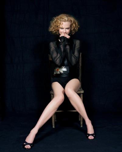 Nicole Kidman in black with white white legs