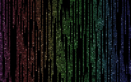 rainbow matrix code 500x312 Rainbow Matrix Code Wallpaper Movies