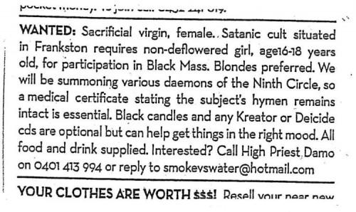 wanted - sacrificial virgin