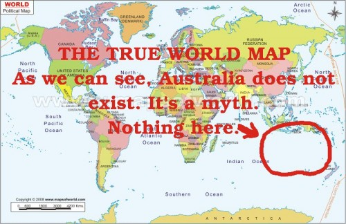 True World Map Australia is a myth 500x324 True World Map   Australia is a myth Humor