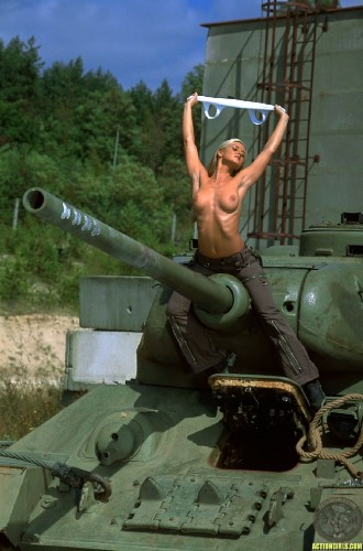 nsfw - topless tank girl with huge turret