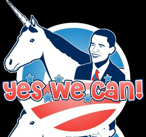 unicorns and obama yes we can 500x467 unicorns and obama   yes we can unicorns Politics Humor barack obama