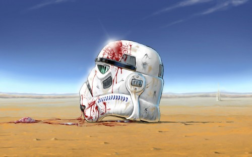 Bloody storm trooper helmet