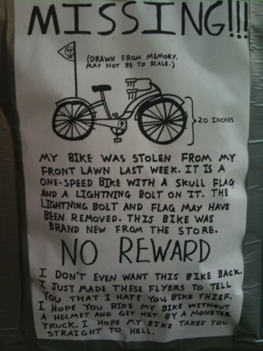 missing - my bike - no reward
