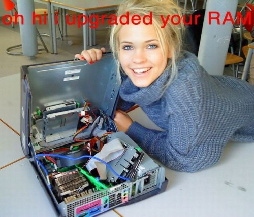 oh hi I upgraded your RAM - sexy blonde