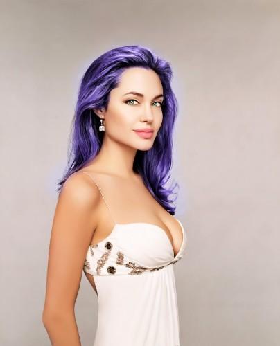 purple haired jolie 404x500 purple haired jolie vertical wallpaper Sexy NeSFW Angelina Jolie