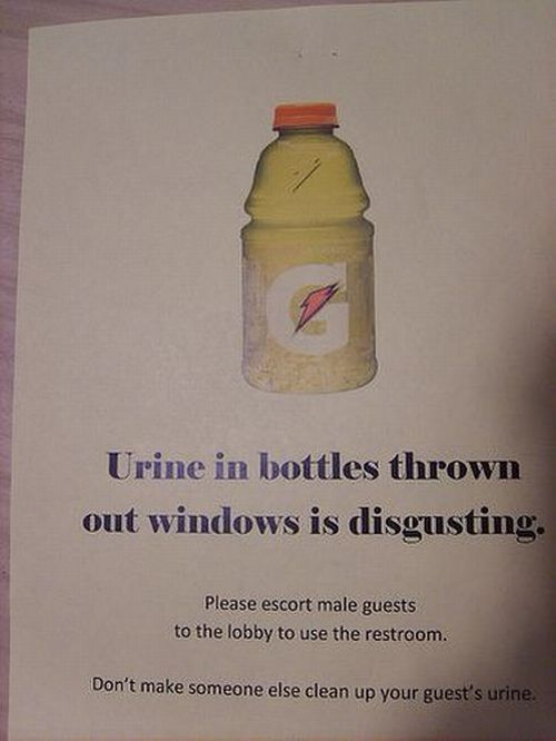 urine in bottles thrown out windows is disgusting