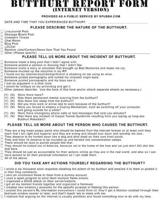butthurt report form - internet version