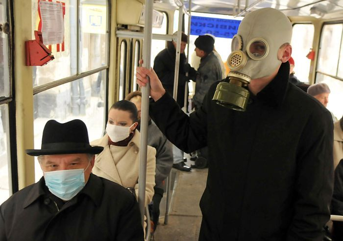 gasmask bus riders