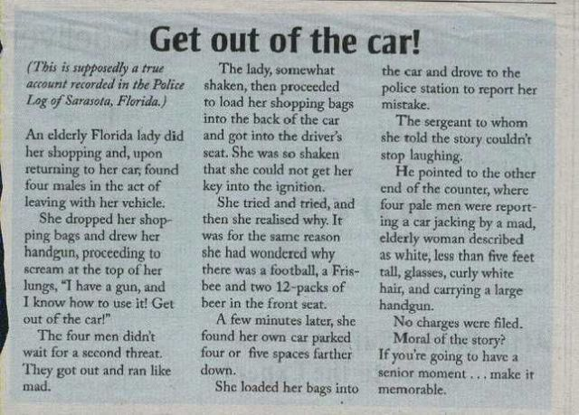 get ouf of the car