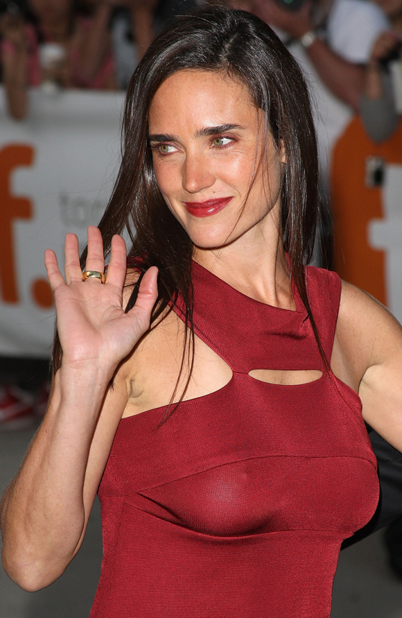 jennifer connelly – red see through dress