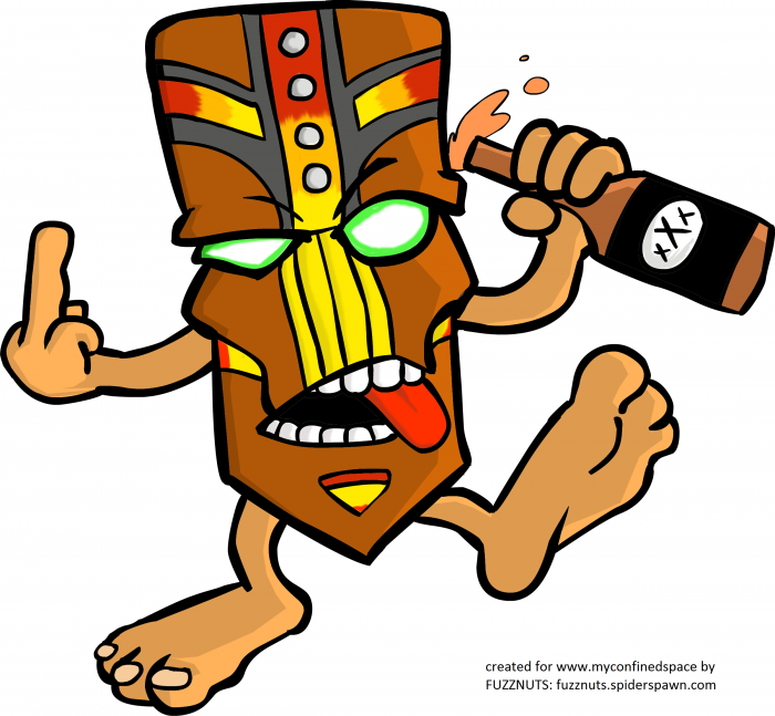 tiki god 700x647 Drunk tiki gives you the finger tiki god middle finger Awesome Things Alcohol