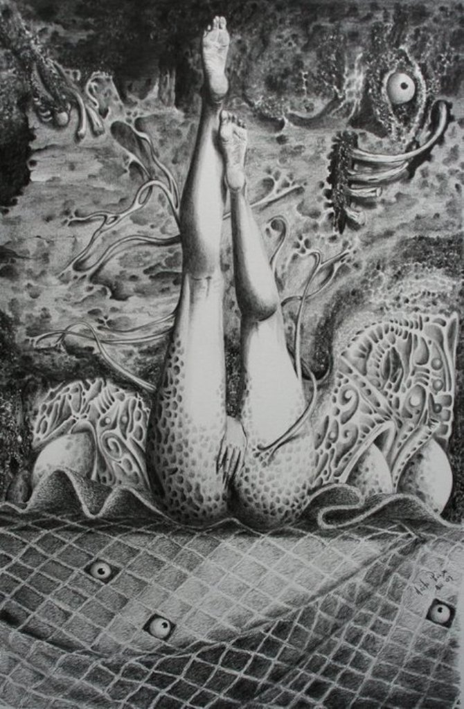 Un instante del orgasmo de una by Hèctor Pineda, pencil on watercolor
