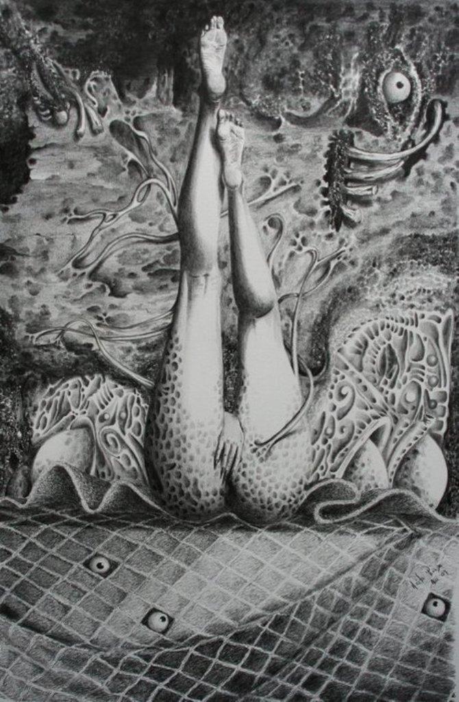 Un instante del orgasmo de una by Hèctor Pineda, pencil on watercolor
